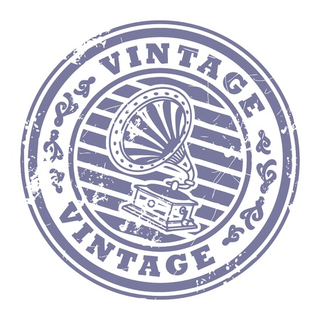 Grunge rubber stamp with gramophone and the text Vintage written inside the stamp Stock Vector - 14068542
