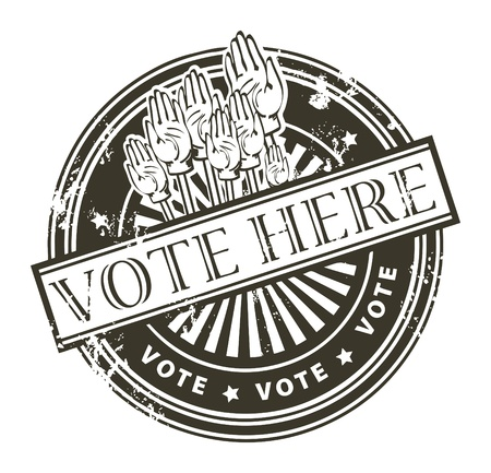 vote here: Grunge rubber stamp with the hands and the word vote here written inside the stamp