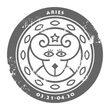 Grunge rubber stamp - sign of the zodiac Aries Vector