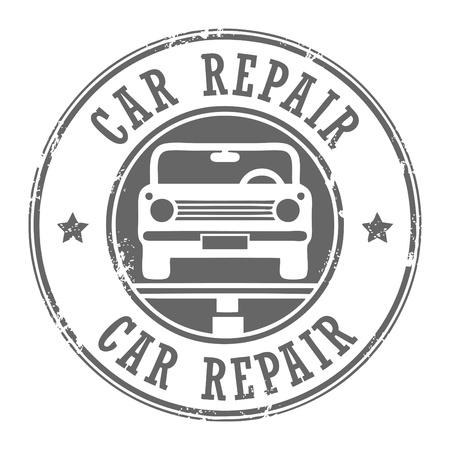 otomotiv: Araba tamir grunge damgası Çizim
