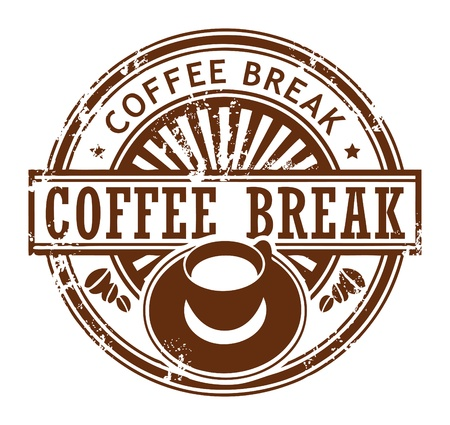 break time: Grunge stamp with coffee cup and the text coffee break written inside the stamp