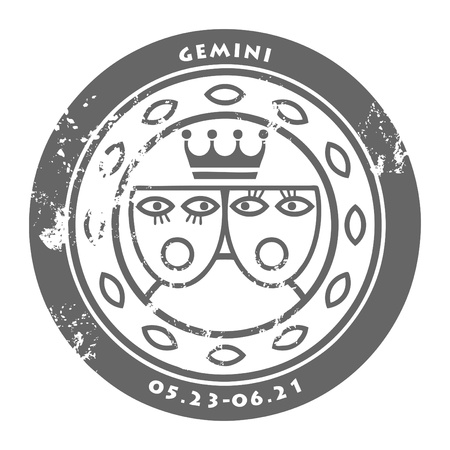 Grunge rubber stamp - sign of the zodiac Gemini Vector