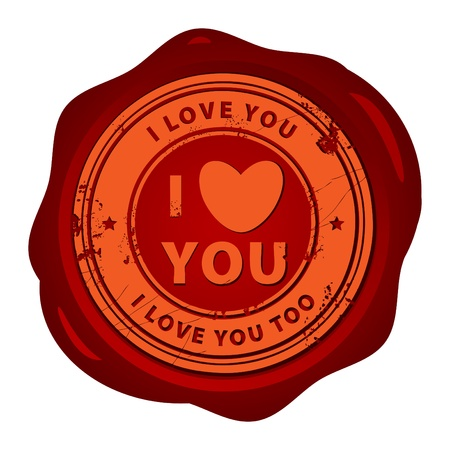 Wax seal with the word I love you inside Vector