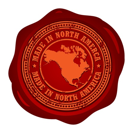 old stamp: Wax seal with the word Made in North America inside
