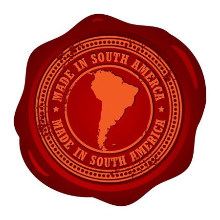 Wax seal with the word Made in South America inside Vector