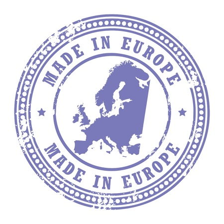 Grunge rubber stamp with the text Made in Europe written inside the stamp Vector