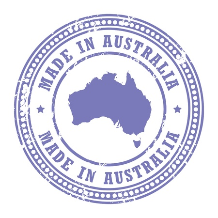 australia stamp: Grunge rubber stamp with the text Made in Australia written inside the stamp
