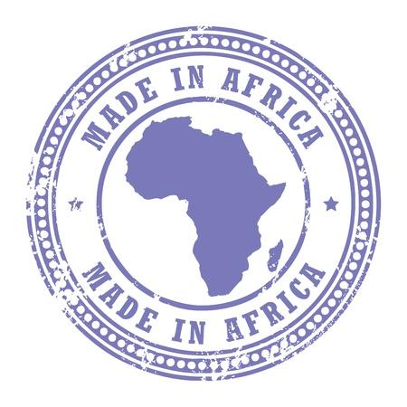 timbre voyage: Tampon en caoutchouc grunge avec le texte made in Africa écrite à l'intérieur du timbre