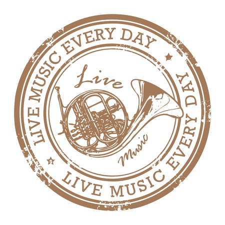 blues music: Grunge rubber stamp with the word life music written inside the stamp