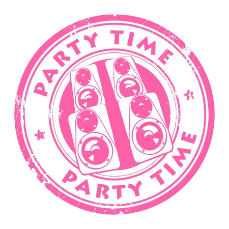 Grunge rubber stamp, with the speakers and text Party time written inside Stock Vector - 14068574