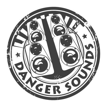 clipart speaker: Grunge rubber stamp, with the speakers and text Danger sounds written inside