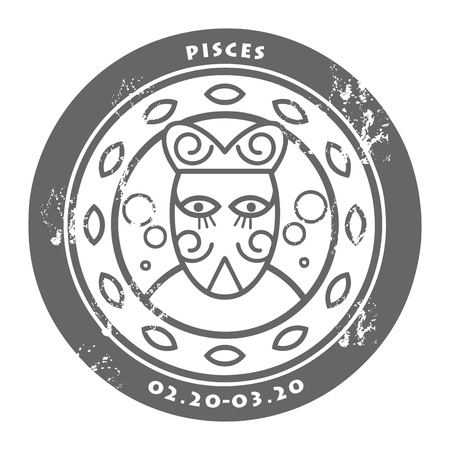 astrologer: Grunge rubber stamp - sign of the zodiac Pisces
