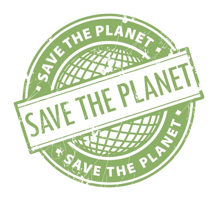 Grunge rubber stamp with the word Save the Planet inside Vector