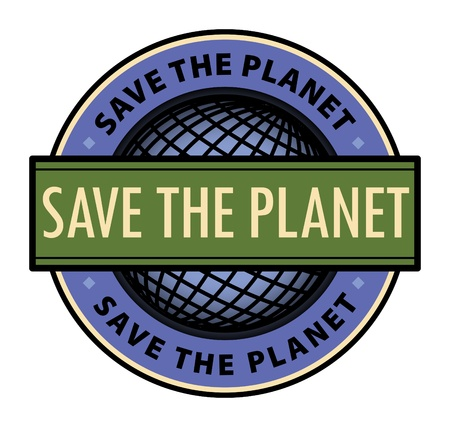 Label with the word Save the Planet inside Vector