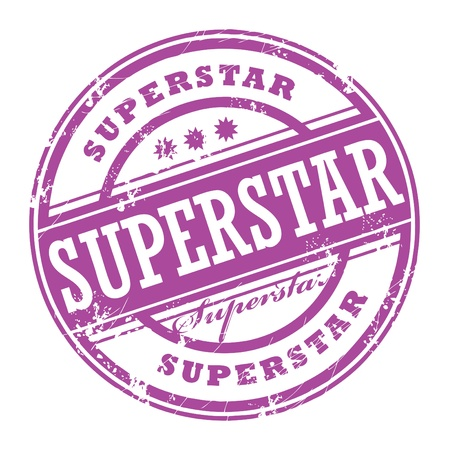 qualify: Abstract rubber grunge stamp with the word Superstar