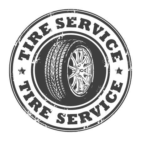 tyre tread: Abstract grunge rubber stamp with wheel and the words tire service written inside Illustration
