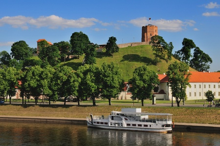 lithuania: Vilnius, Tower of Gediminas, symbol of Vilnius  Summer  Stock Photo