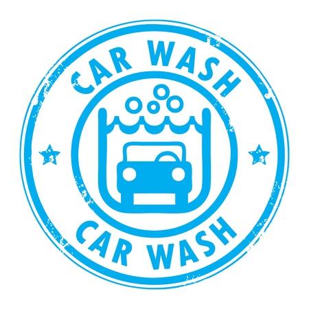 auto lavado: Sello de goma del grunge abstracto con el coche lavado las palabras escritas en el interior