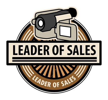 Sticker with the Camcorder and word Leader of sales written inside Vector