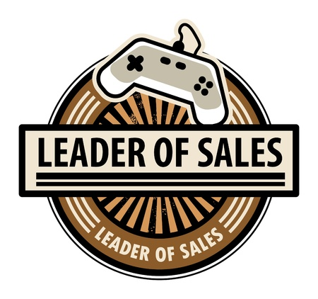 Sticker with the gaming console and word Leader of sales written inside Vector