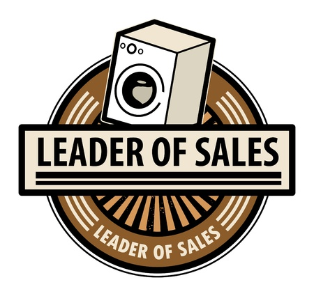Sticker with the washing machine and word Leader of sales written inside Vector