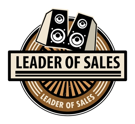 Sticker with the speakers and word Leader of sales written inside Vector