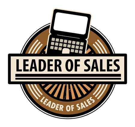 Sticker with the laptop computer and word Leader of sales written inside Stock Vector - 14169794