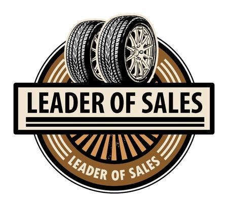 car tire: Sticker met de banden en het woord leider van de verkoop schriftelijk binnen