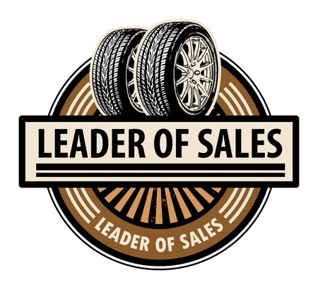 tire shop: Sticker with the tires and word Leader of sales written inside