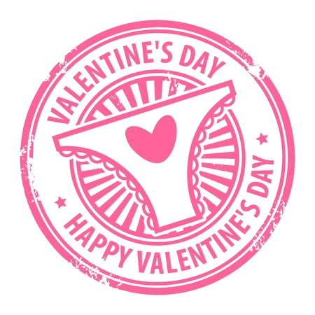 Grunge rubber stamp with heart, woman s panties and the text Happy Valentine s Day written inside Vector