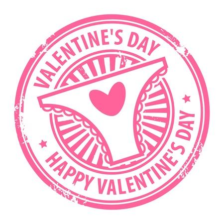 Sello de goma de Grunge con las bragas del corazón, y el Día de la mujer s el texto Happy Valentine s escrito en su interior