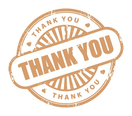 Grunge rubber stamp with the text thank you written inside