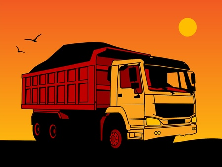 Dump truck hand draw color illustration Vector