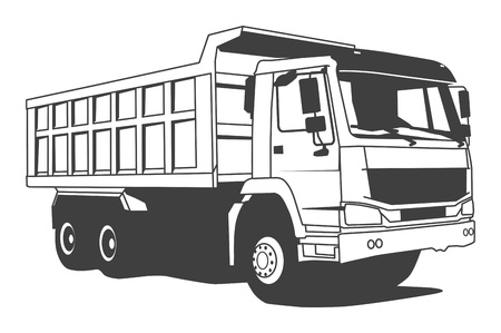 white truck: Dump truck hand draw illustration Illustration