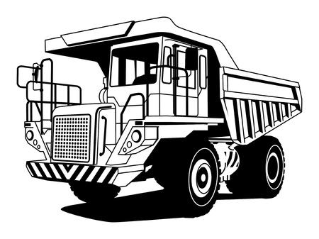 hand truck: Dump truck hand draw illustration Illustration