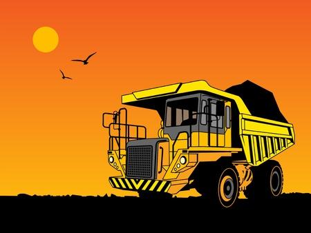 yellow tractor: Vuelca cami�n de la mano empate ilustraci�n en color