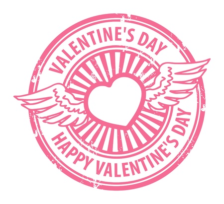 Grunge rubber stamp with heart, wings and the text Happy Valentine s Day written inside Vector