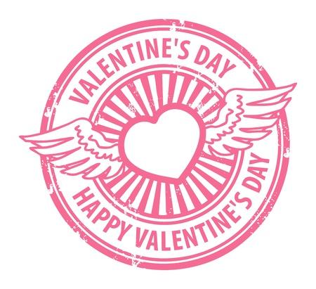 corazon con alas: Grunge sello con el coraz�n, las alas y el D�a de San Valent�n feliz del texto escrito dentro de s