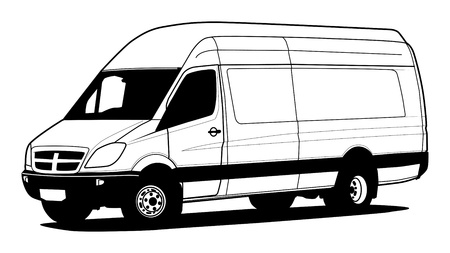 trucker: Delivery van hand draw illustration