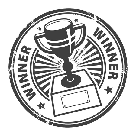 Grunge rubber stamp with winner cup and the word winner written inside Vector