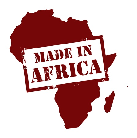 africa map: Abstract grunge stamp with the word Made in Africa written inside