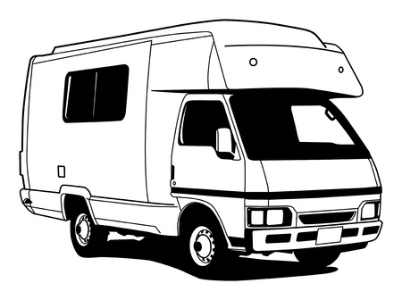 motor home: Camper hand draw illustration