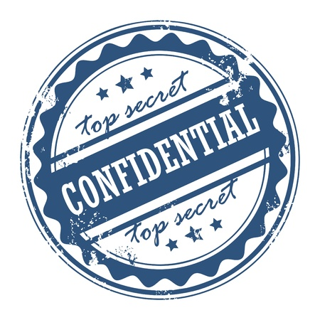 espionage: Grunge rubber stamp with the words Confidential - Top secret inside Illustration