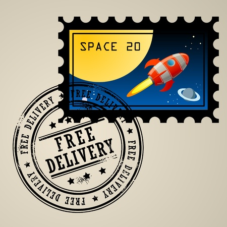 Post stamp with rocket in the space and grunge stamp with text Free delivery Stock Vector - 14169897