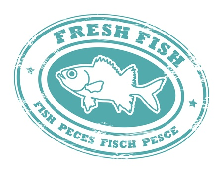 Grunge rubber stamp with small stars, fish shape and the word Fresh fish written inside Vector