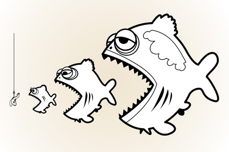 Three fishes and worm on the fishing hook Vector