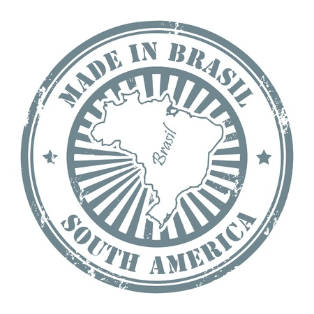 Grunge rubber stamp with the text made in Brazil written inside
