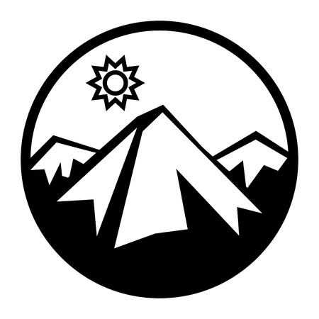 Mountains and sun icon
