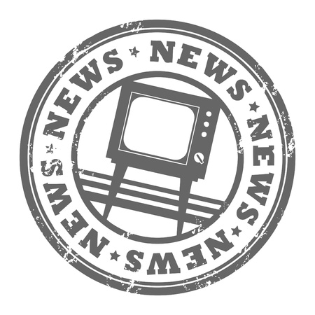 newspaper cartoons: Grunge rubber stamp with TV and the word News written inside the stamp
