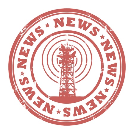 Grunge rubber stamp with radio tower and the word News written inside the stamp Vector